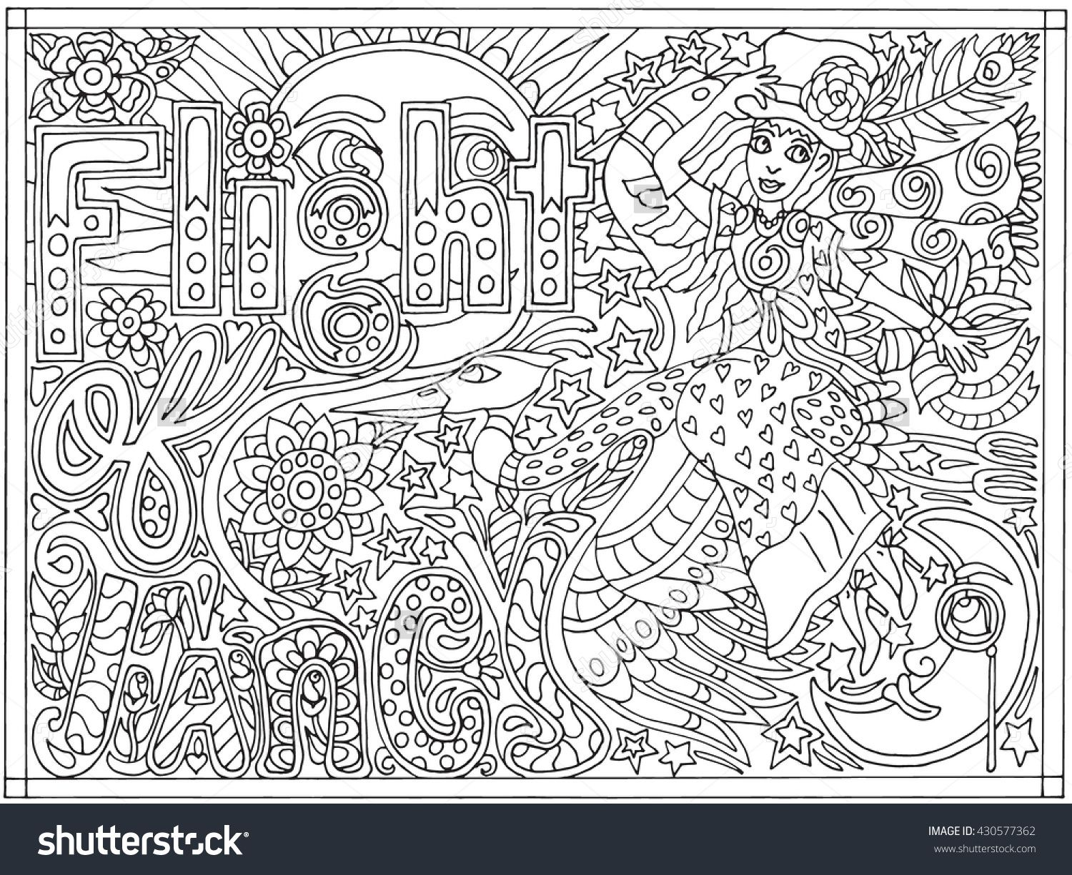 The coloring book poster - Adult Coloring Book Poster Page Flight Of Fancy Black And White Vector Illustration