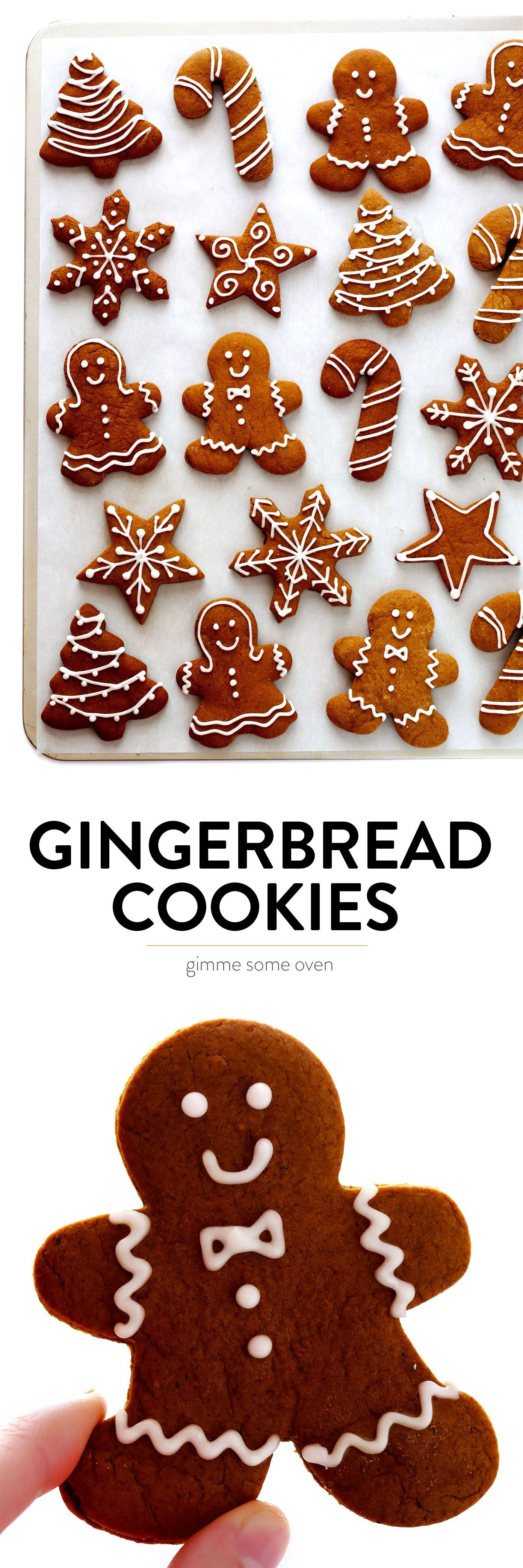 My favorite Gingerbread Cookies recipe!  It's easy to make as soft or as crispy as you'd like, the cookies are easy to cut out and decorate, and they are perfect for the holidays! | Gimme Some Oven #gingerbread #cookies #christmas #holiday #ginger #frosting #icing #dessert