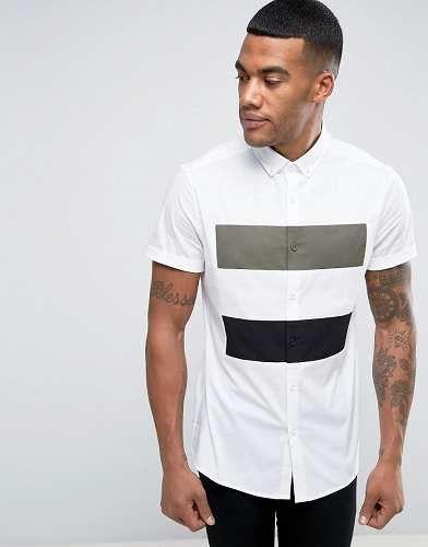 Prezzi e Sconti: #Asos camicia skinny cut and sew bianco taglia Xxslxlm  ad Euro 33.99 in #Asos #Male per prodotto camicie