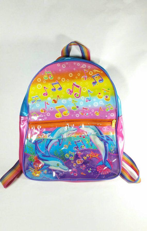 af1989b49f Vintage Lisa Frank Backpack Dolphins 90s Neon by SlimeWarpVintage ...