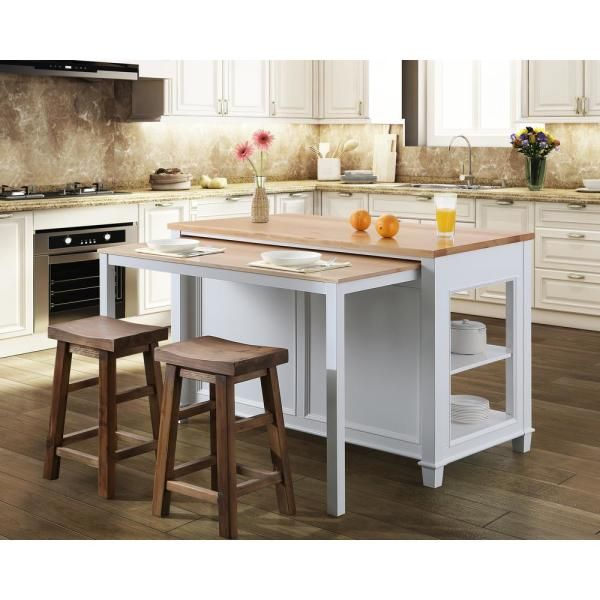Design Element Medley White Kitchen Island With Slide Out Table Kd 01 W The Home Depot Kitchen Island With Seating Kitchen Island Design Kitchen Island Table