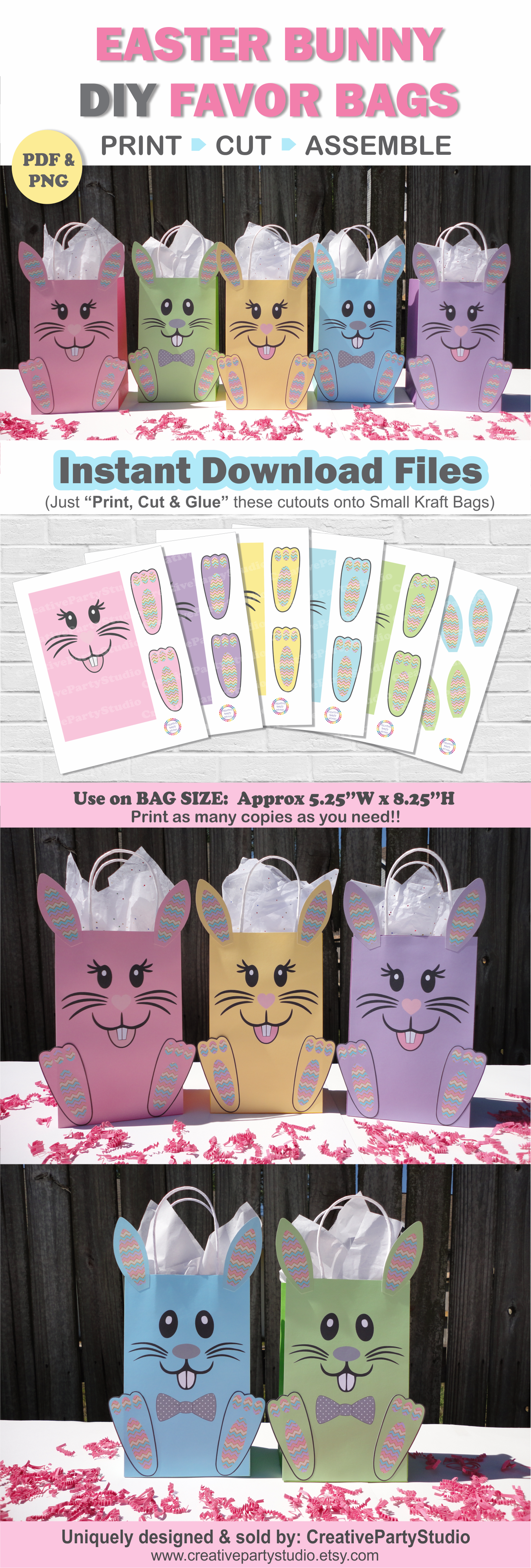 Easter favor bags easter party bags easter party supplies diy easter favor bags easter party bags easter party supplies diy easter easter theme birthday easter bunny treat bags easter goody bags negle Image collections
