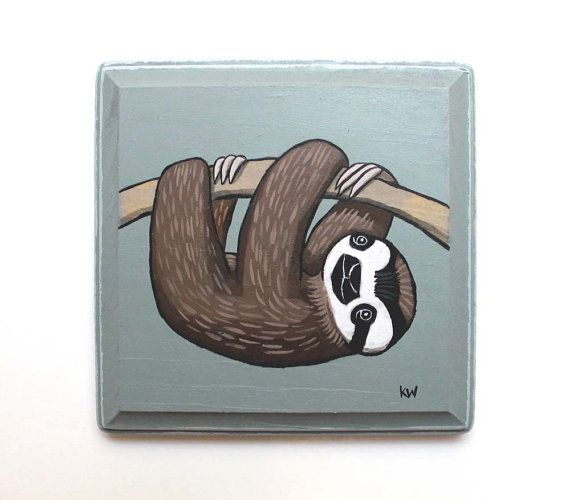 Sloth Original Wall Art Acrylic Painting On Wood By By Kmwatkins 60 00 Https Www Etsy Com Listing Original Wall Art Canvas Painting Acrylic Paint On Wood