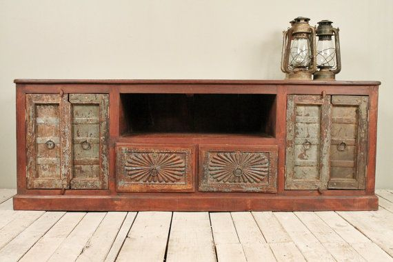 Reclaimed Salvaged Green Antique Rustic Indian Window Shutter Door Panel TV  Stand Media Console w/ - Antique Media Cabinet Antique Furniture