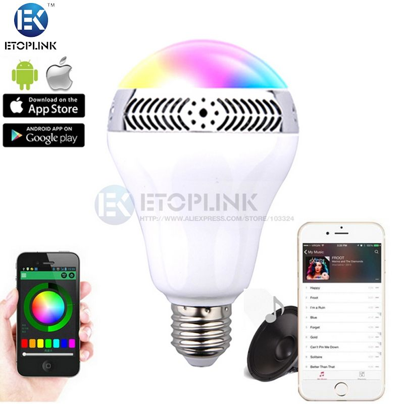 Find More Smart Illumination Information About 5w E27 Wireless Bluetooth Speaker Rgb 2 0 Color Smart Led Light Bulb Lamp For Iphone 6s 6 5s For Samsung High Qua