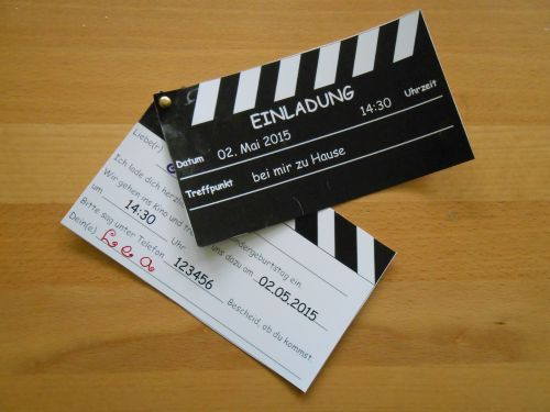fertige einladung zur kindergeburtstagsfeier im kino, foto, Einladungsentwurf