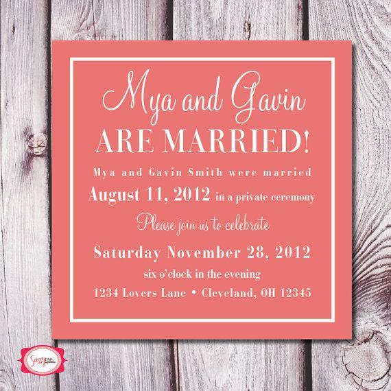 Reception After Destination Wedding Invitation: Check Yes Or No Wedding Announcement/Reception Invite