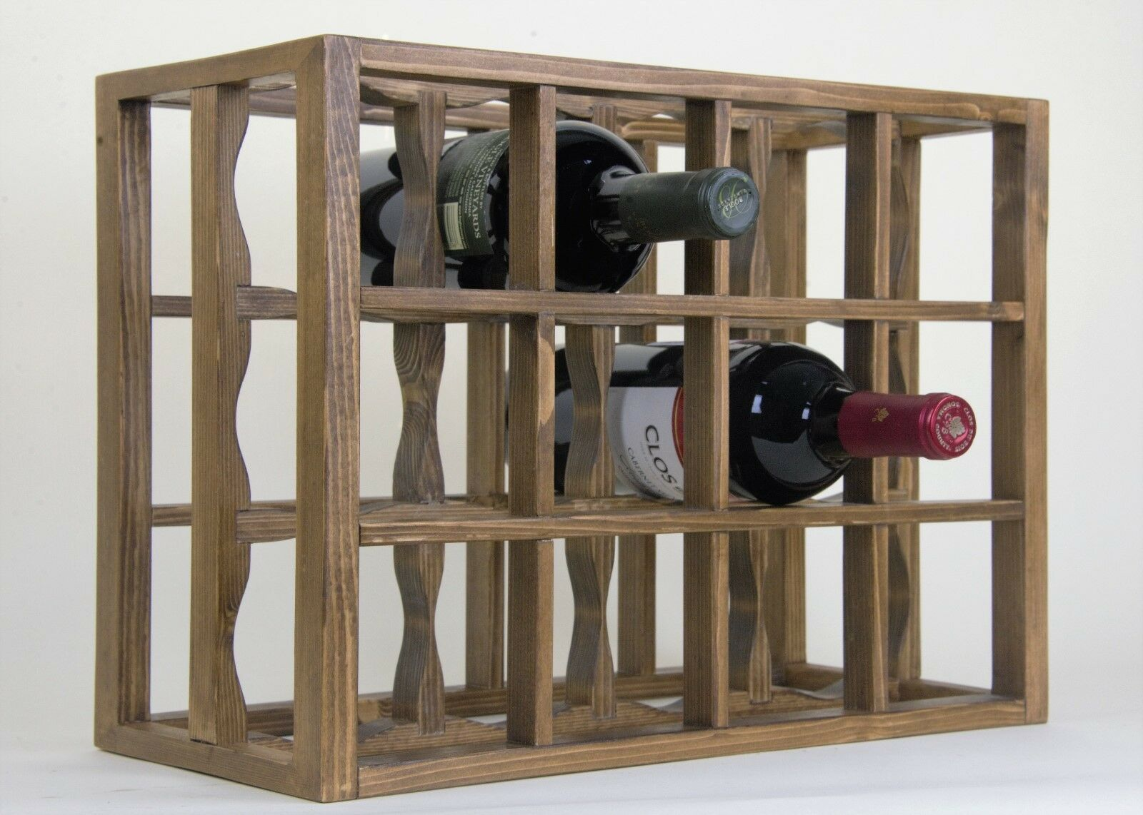 Victoria Wine Rack 12 Bottles Solid Wood Antique Stain Lacquered