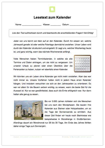 Arbeitsblatt: Lesetext zum Kalender