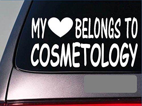 My Heart Belongs Cosmetology I Sticker Decal Makeup Artist - Hair stylist custom vinyl decals for car