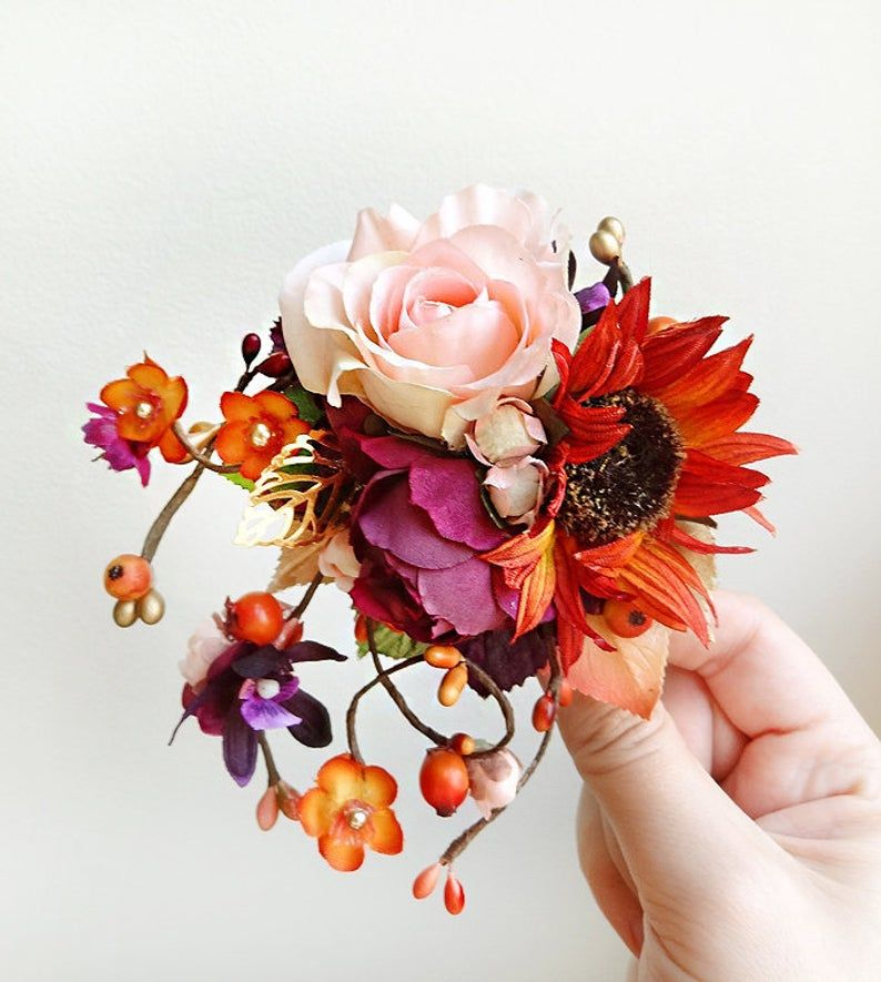A Gorgeous Floral Accent For Your Fall Wedding Updo Featuring A