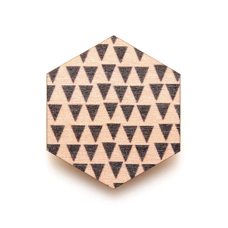Copenhagen Brooch - Pink Triangles