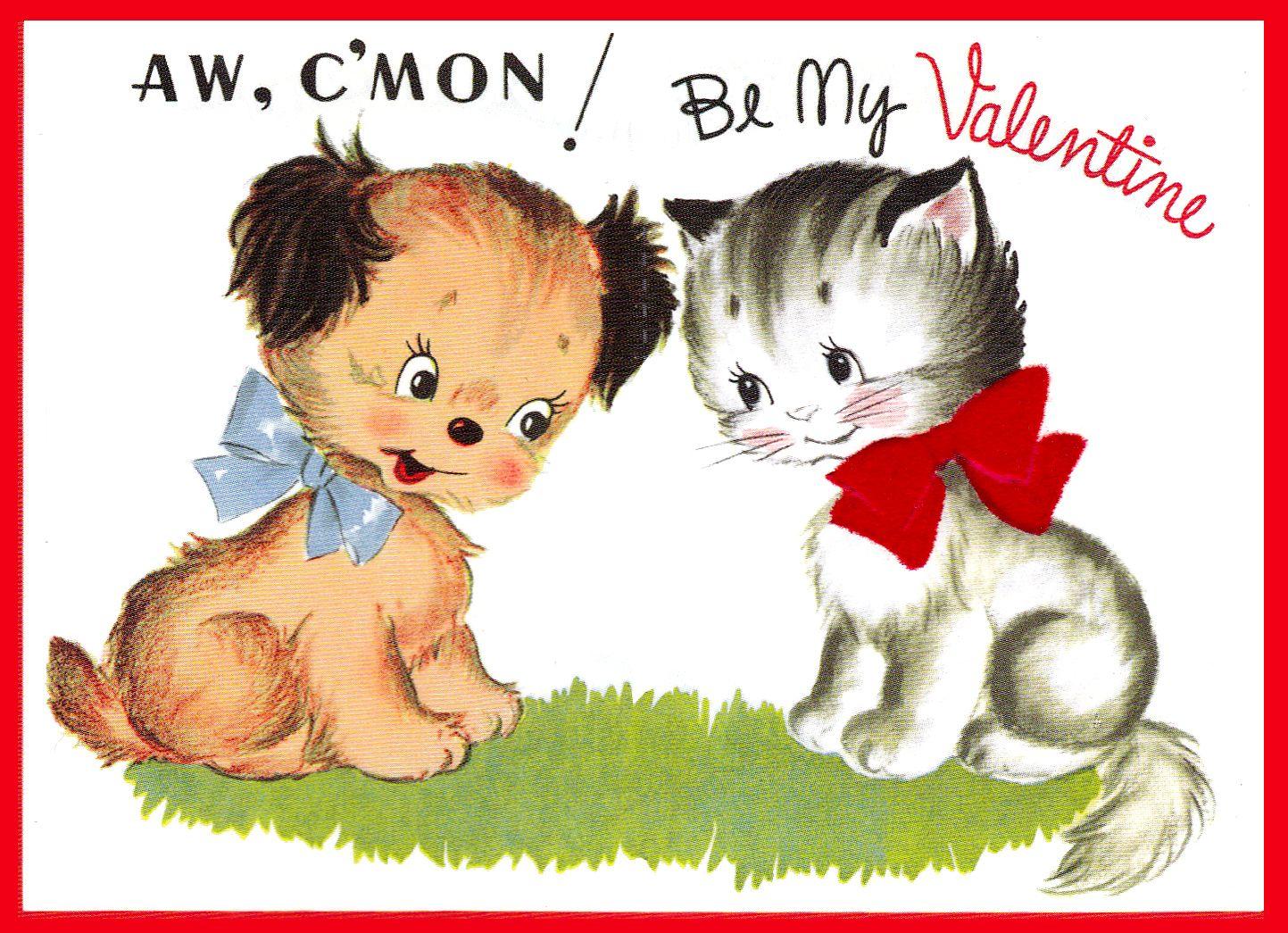 Vintage Puppy Kitten Vintage Valentine Cards Vintage Valentine Greeting Cards Dog Valentines