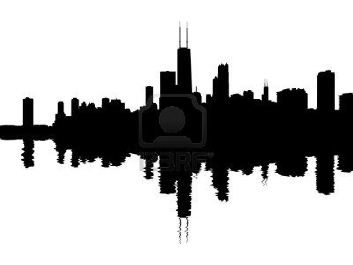 Chicago Skyline Reflected With Ripples Illustration Chicago Skyline Tattoo Chicago Skyline Chicago Skyline Silhouette
