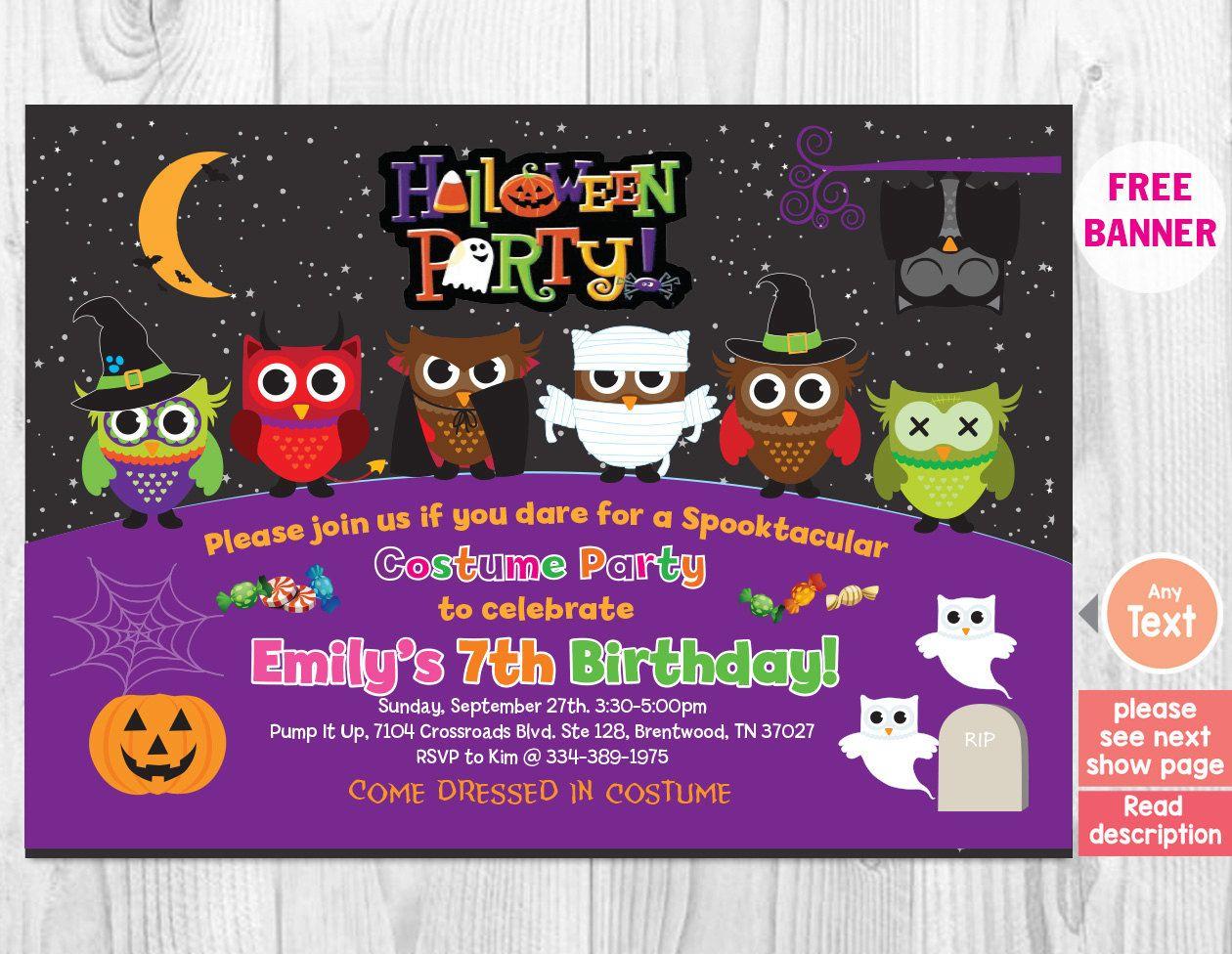 HALLOWEEN Birthday Party Invitation, Kids Halloween Invitation ...