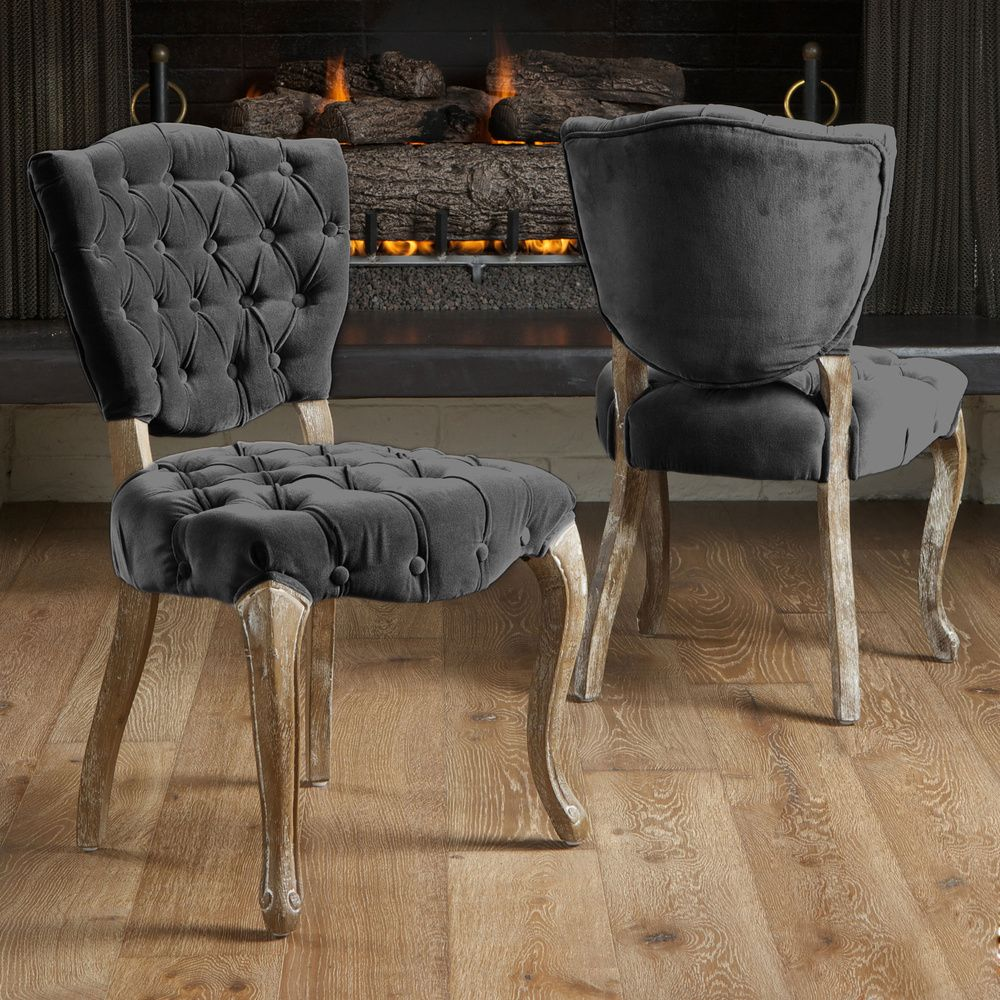 Christopher Knight Home Bates Tufted Charcoal Fabric Dining Chairs (Set Of  2) | Overstock