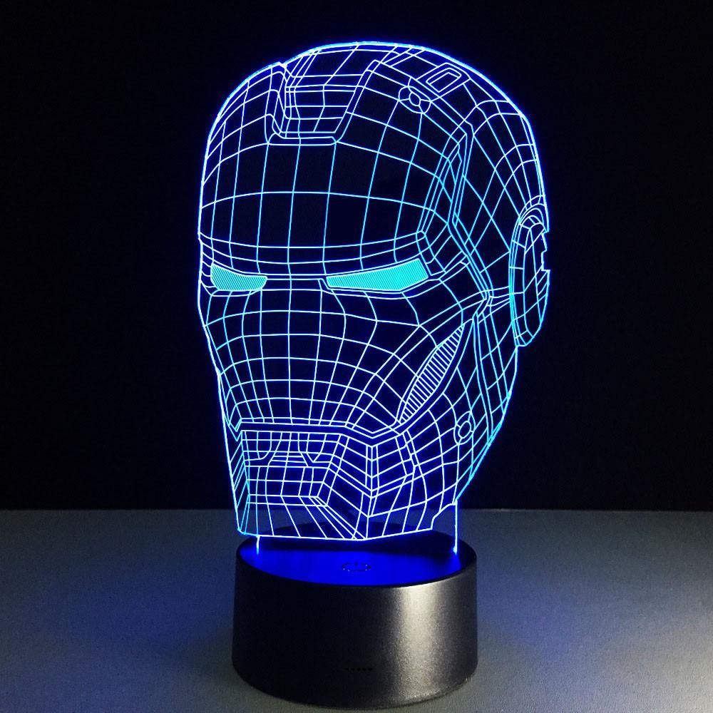 Iron Man LED Table Lamp 3D optical illusion Night Light Transparent ...