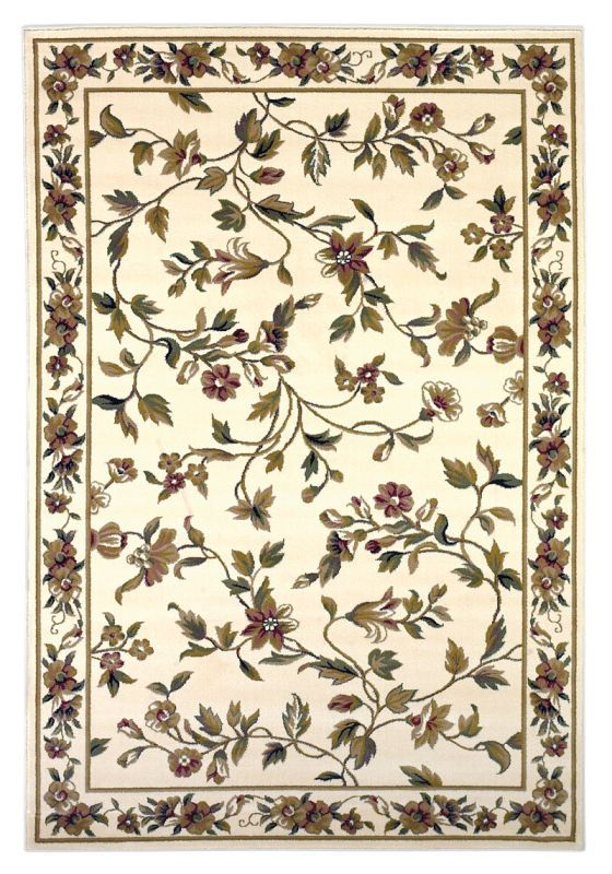 Home Decorator Rugs Floral Vines: KAS Rugs Cambridge 7331 Ivory Floral Vine Machine Made 100% Heat    ,