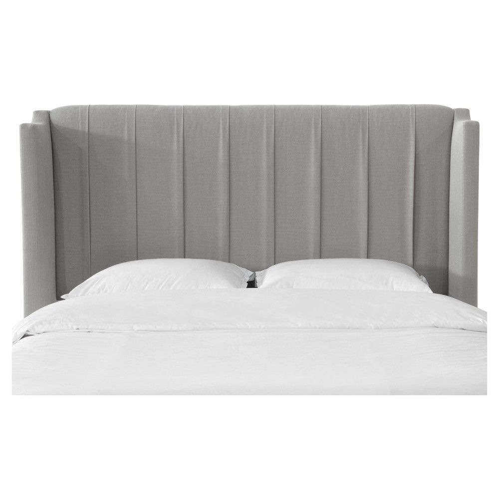 Finley Pleated Wingback Headboard - California King - Linen Gray - Skyline Furniture, Linen Grey