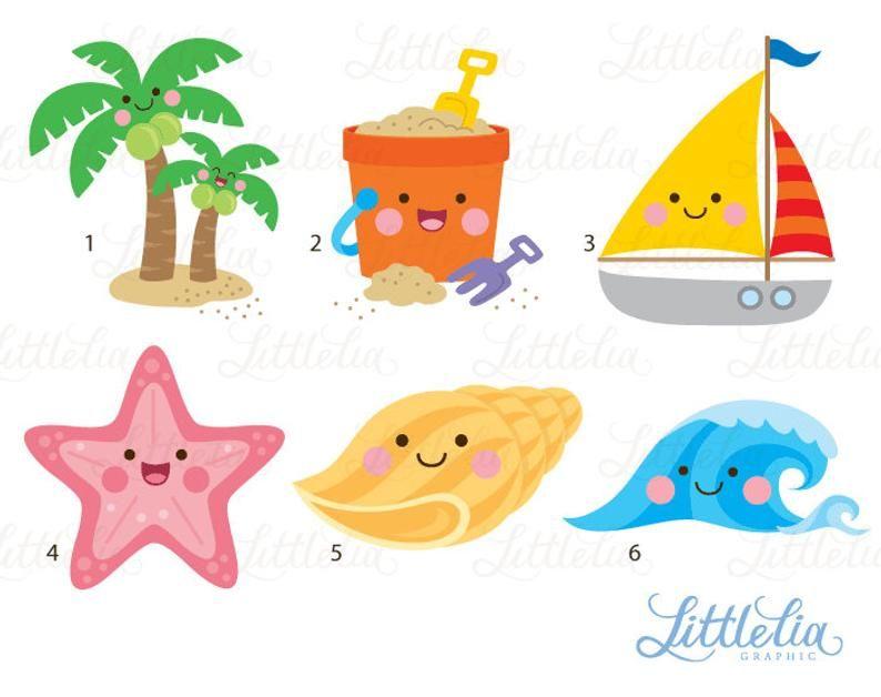 Beach Kawaii Clipart Summer Beach Cute Clipart 17022 Etsy Kawaii Clipart Cute Clipart Clip Art