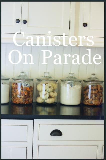Fall Vignettes Stonegable Kitchen Jars Glass Kitchen Canisters Glass Canisters Decor