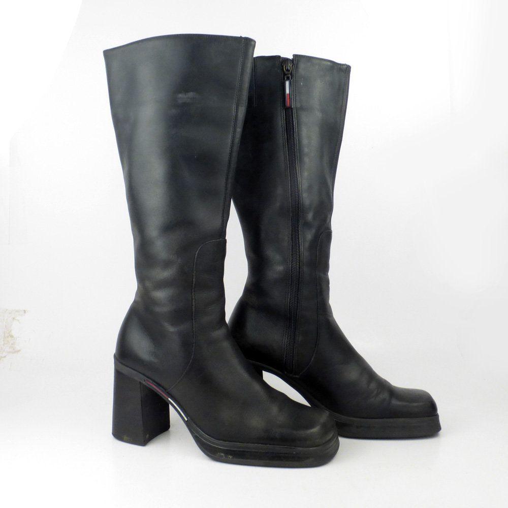 e2ab8cfa9a526 Tommy Hilfiger Boots Vintage 1990s Black Leather Women's size 6 1/2 ...