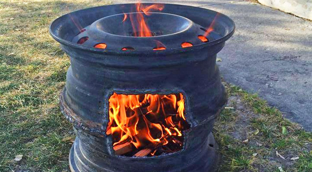 Old Tire Rims Make Diy Fire Pits Diy Wood Stove Fire Pit Rim Fire Pit