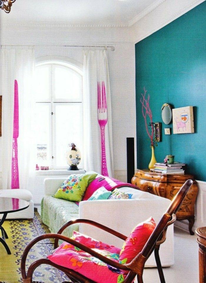 sehr schöne wandfarben ideen blaue wand als akzent im schlazimmer - wohnzimmer wandfarben ideen