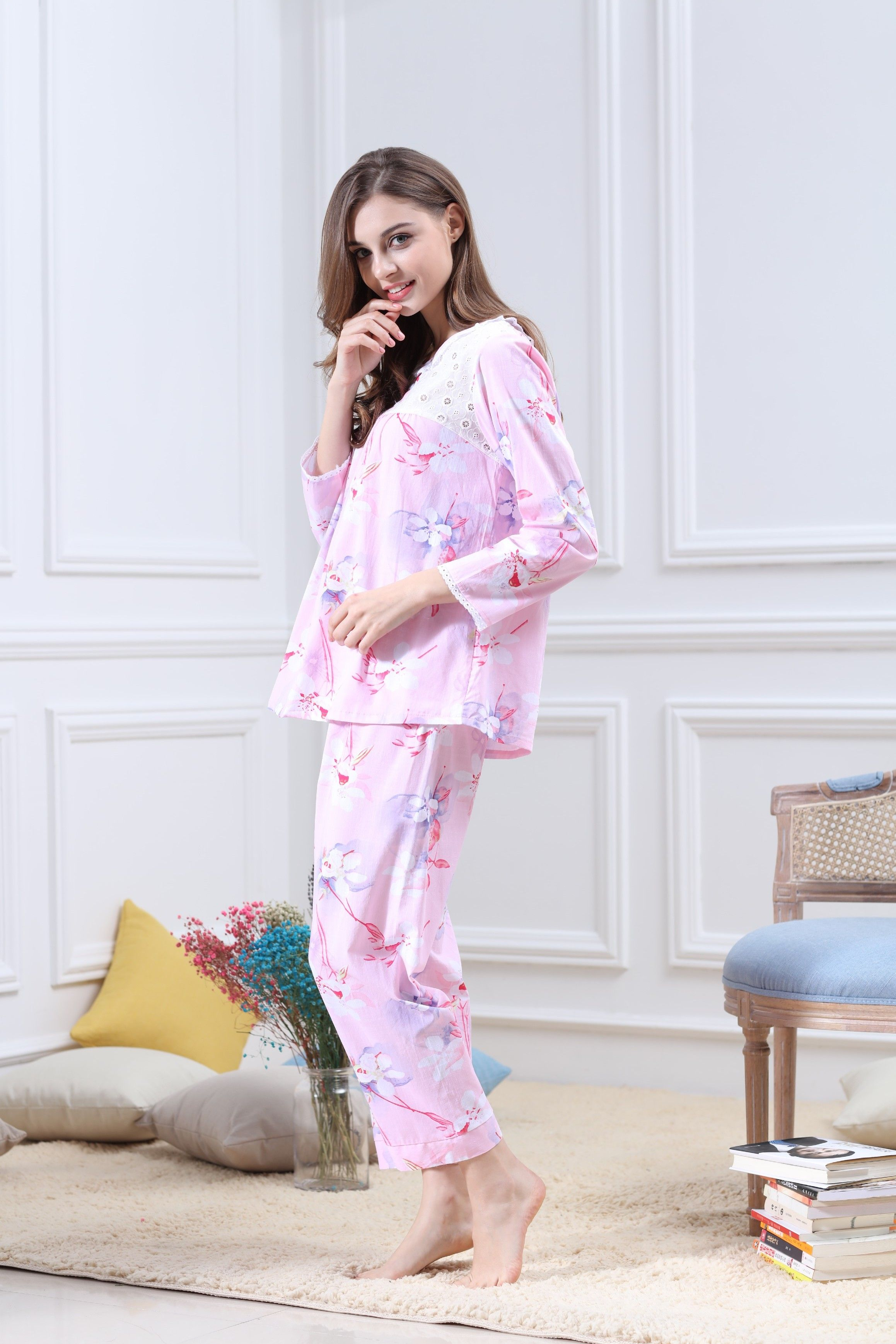 b11f6575b5  Womens  Pajamas  Cotton  Sleepwear  TwoPiecesSets  HomeService  Soft   Bedwear  LongSleeves