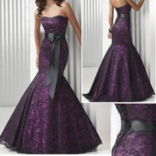 Purple Wedding Dresses | Purple Satin Black Lace Bridal Wedding ...