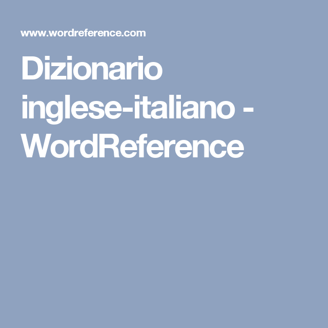 word reference italian