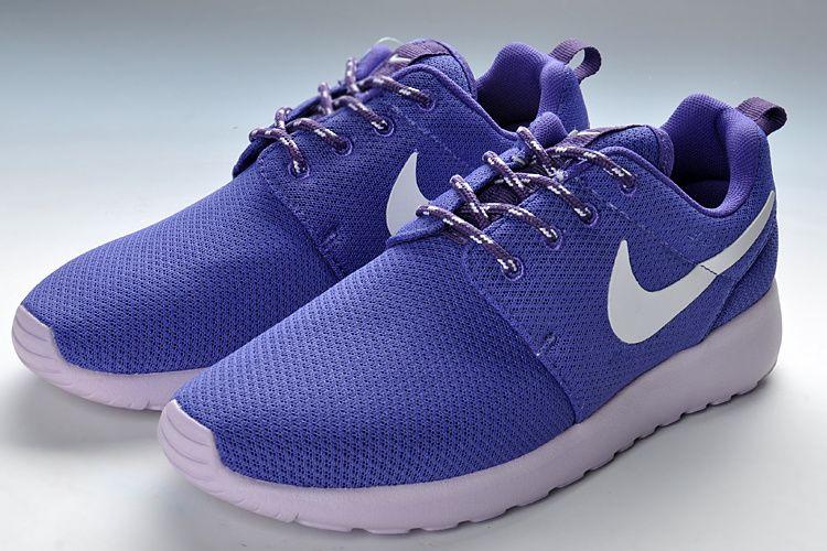 cheaper 8a608 02496 Nike Roshe Run Ladies Trainers Dark Purple White Mesh Plymouth