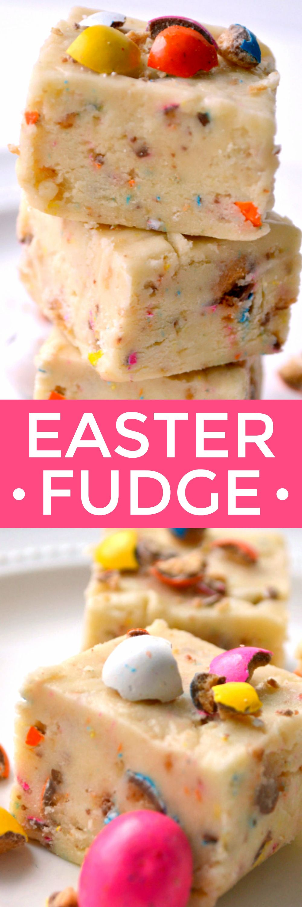This Easter Fudge is loaded with malted milk balls and so fun for Easter! It comes together easily with no cooking required....the perfect Easter (or anytime) treat!