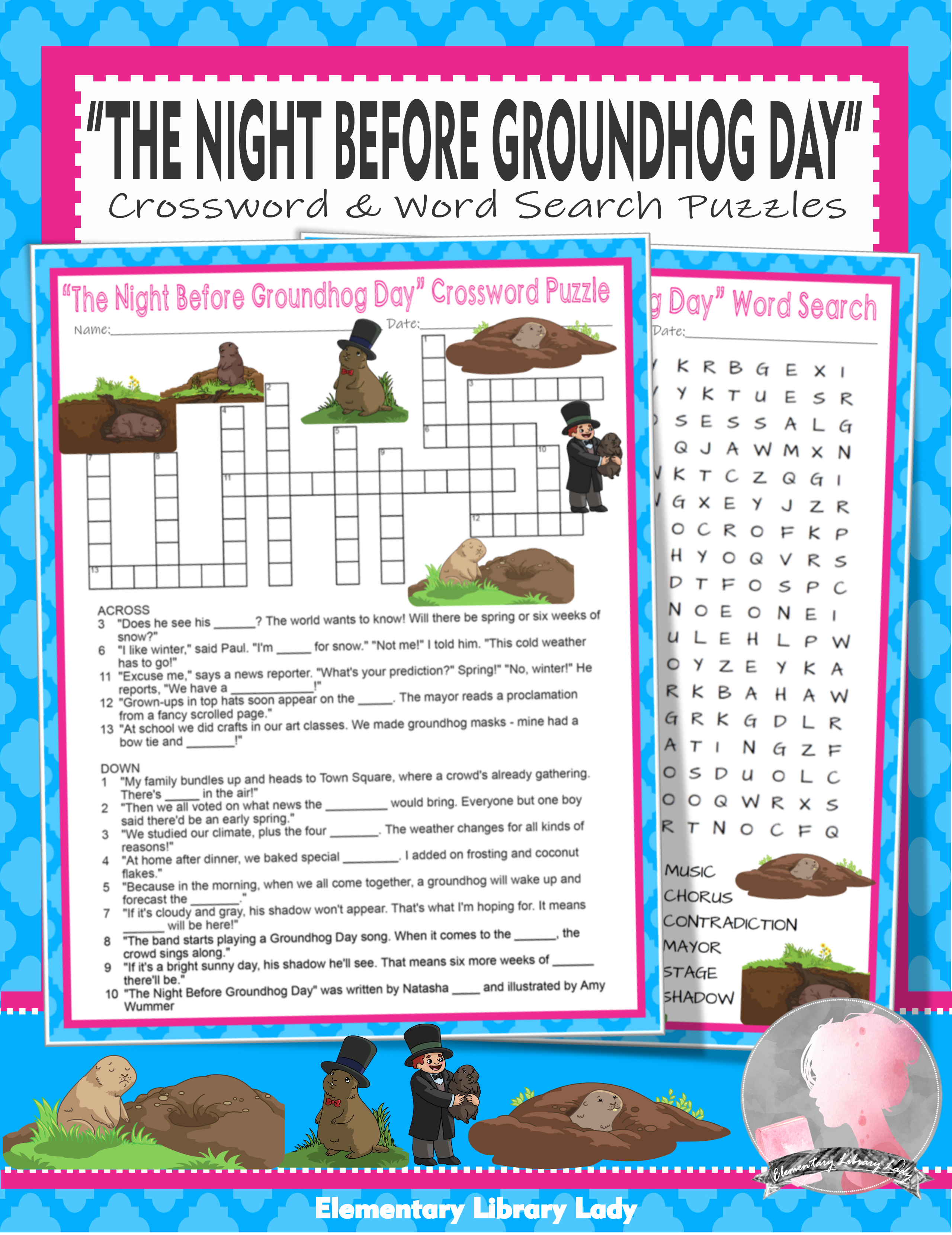 The Night Before Groundhog Day Activities Wing Crossword