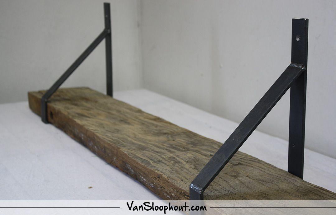 Industriële wandplanken van staal gebruikt hout interieur
