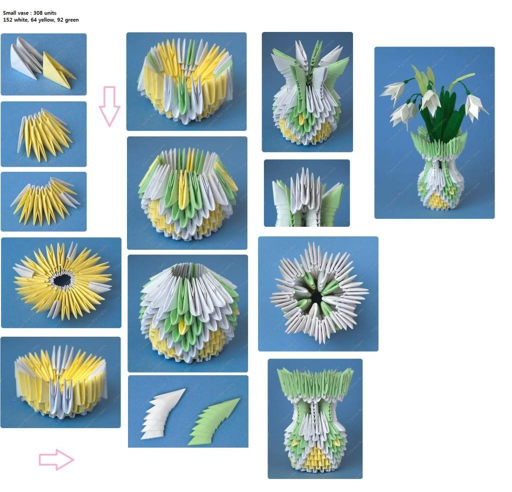 Vase 3d Origami Diagram: 3d Origami Picture Tutorial Vase