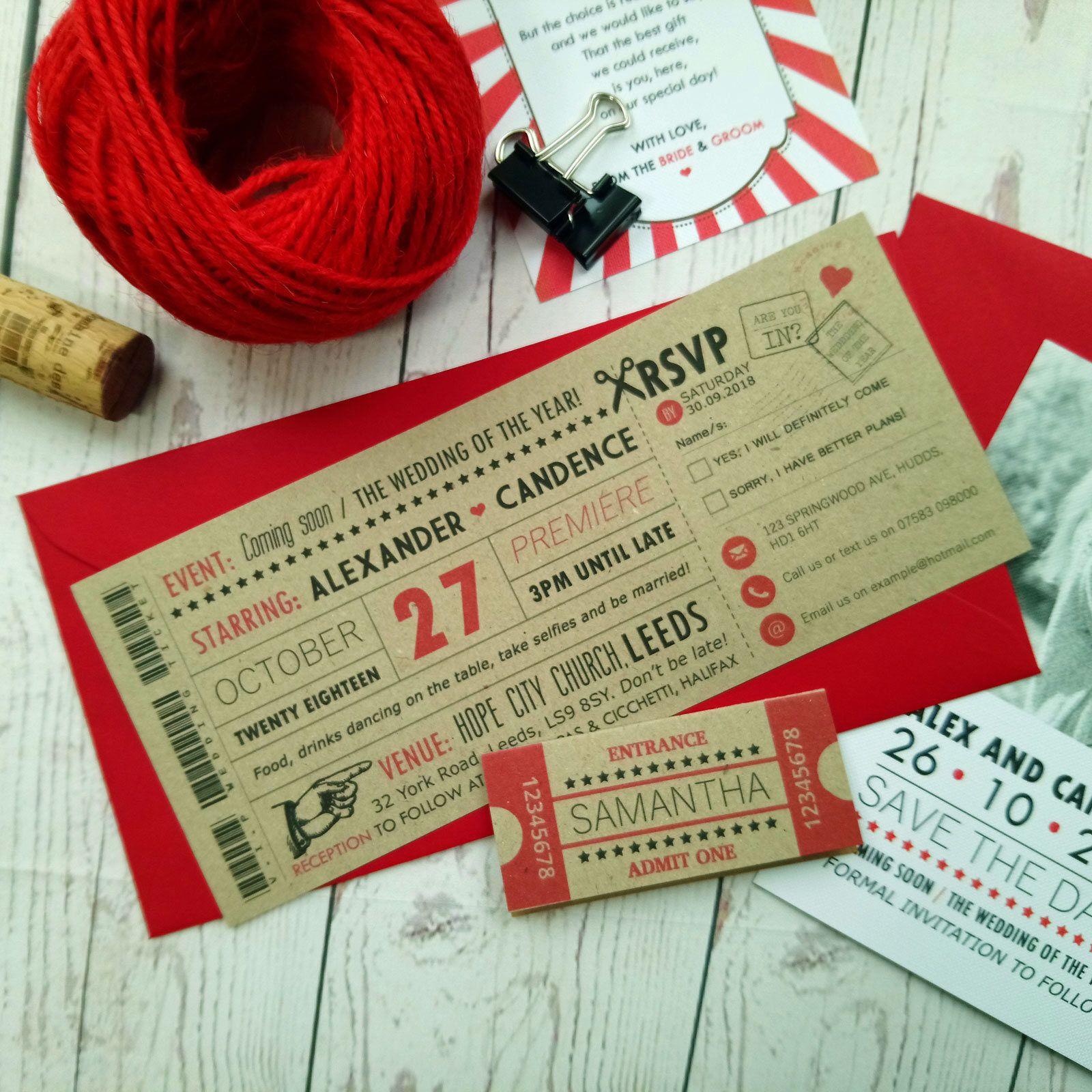 60 x Movie Craft Ticket Wedding Invitation Vintage Retro Cinema ...