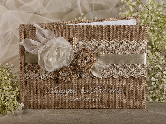 Noms de broderie couleurs personnalis es dentelle toile de jute mariage livre d 39 or livre d - Livre d or toile de jute ...