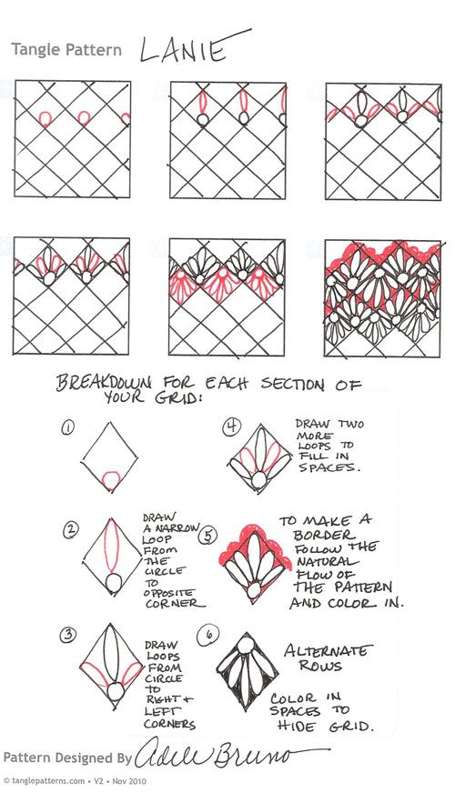 Steps for drawing Adele Bruno's tangle, Lanie