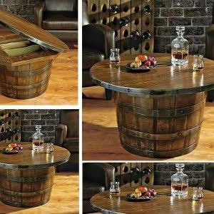 Vintage Whiskey Barrel Table And Chairs