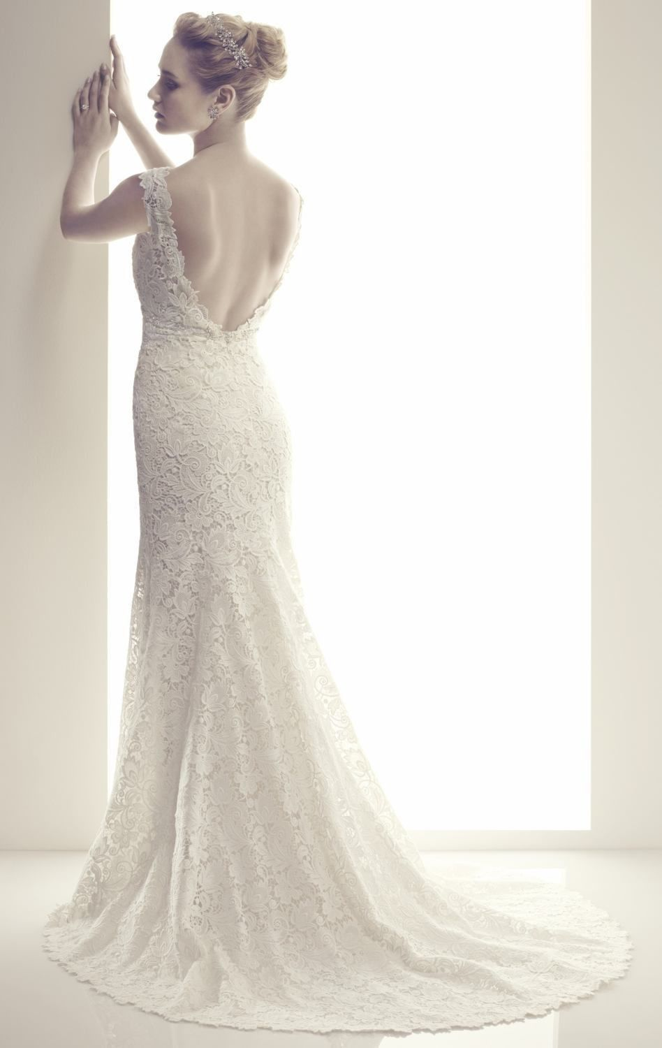 New sheath white ivory v neck wedding dresses backless venice lace