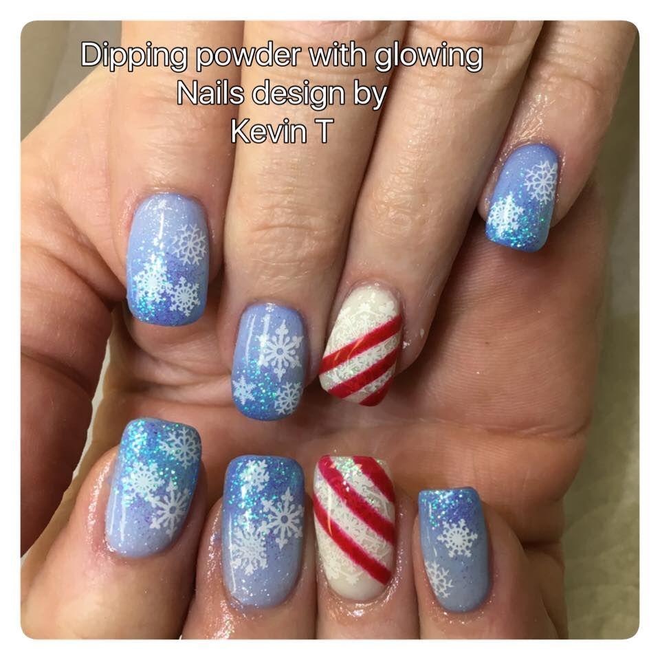 dipping powder nails, christmas nail art, snowflake nail