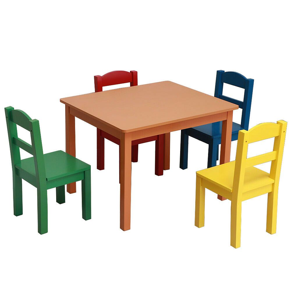 Ebay Sponsored Us Home Bedroom Living Room Kids Dinner Gaming Wood Table 4 Chairs Set New Kids Wooden Table Wooden Childrens Table Wooden Table And Chairs #toddler #living #room #chair
