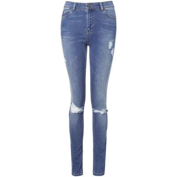 Whistles Distressed Midwash Skinny ($33) ❤ liked on Polyvore featuring jeans, pants, bottoms, trousers, denim, destructed skinny jeans, blue ripped jeans, skinny jeans, skinny fit jeans and ripped skinny jeans