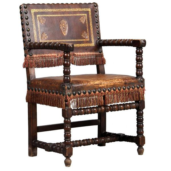 Marvelous Spanish Oak And Leather Armchair 19th Century