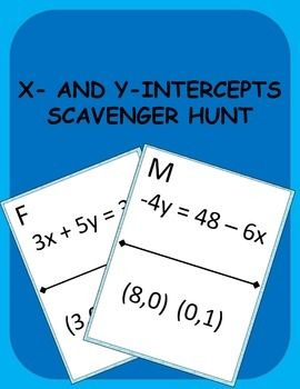 Finding X and Y Intercepts Scavenger Hunt Activity   Worksheets ...