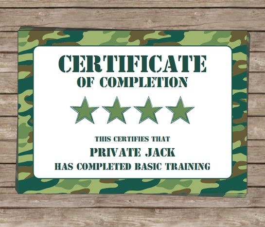 Army Birthday Party Invitations Camo party decorations, Army - army certificate of training template