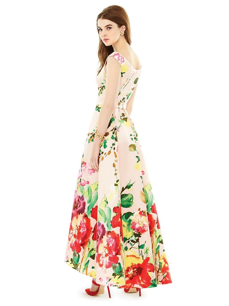 Featuring a floral bouquet print pattern this sateen twill alfred featuring a floral bouquet print pattern this sateen twill alfred sung d722fp bridesmaid dress has ombrellifo Gallery