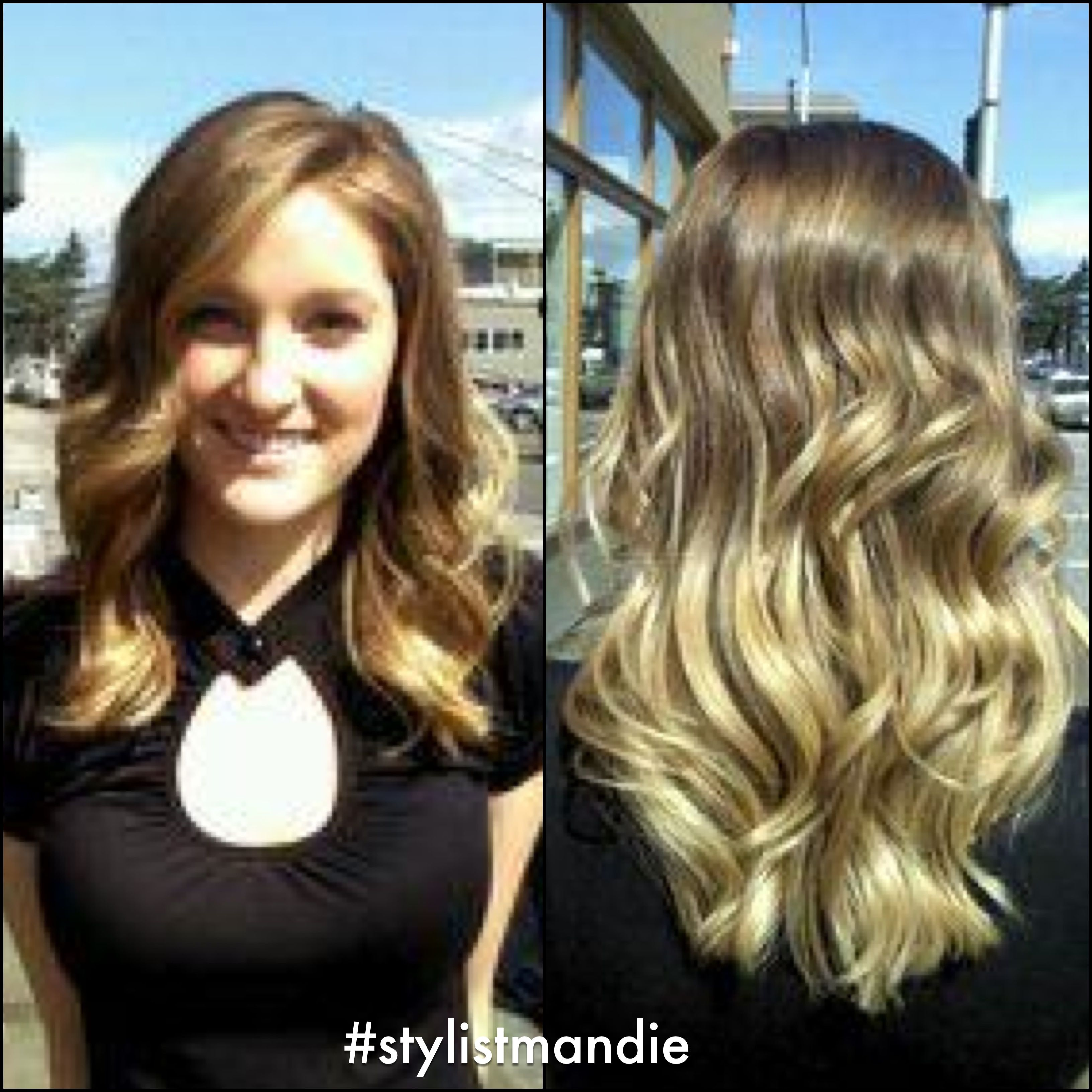 Front And Back View Of The Medium Brown To Blonde Ombre With