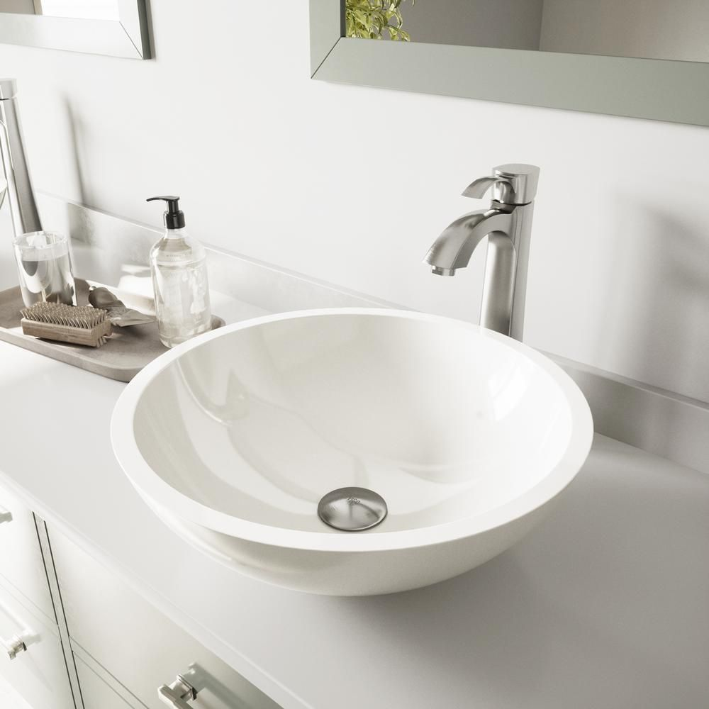 Vigo Victoria Flat Edged White Phoenix Stone Vessel Bathroom Sink